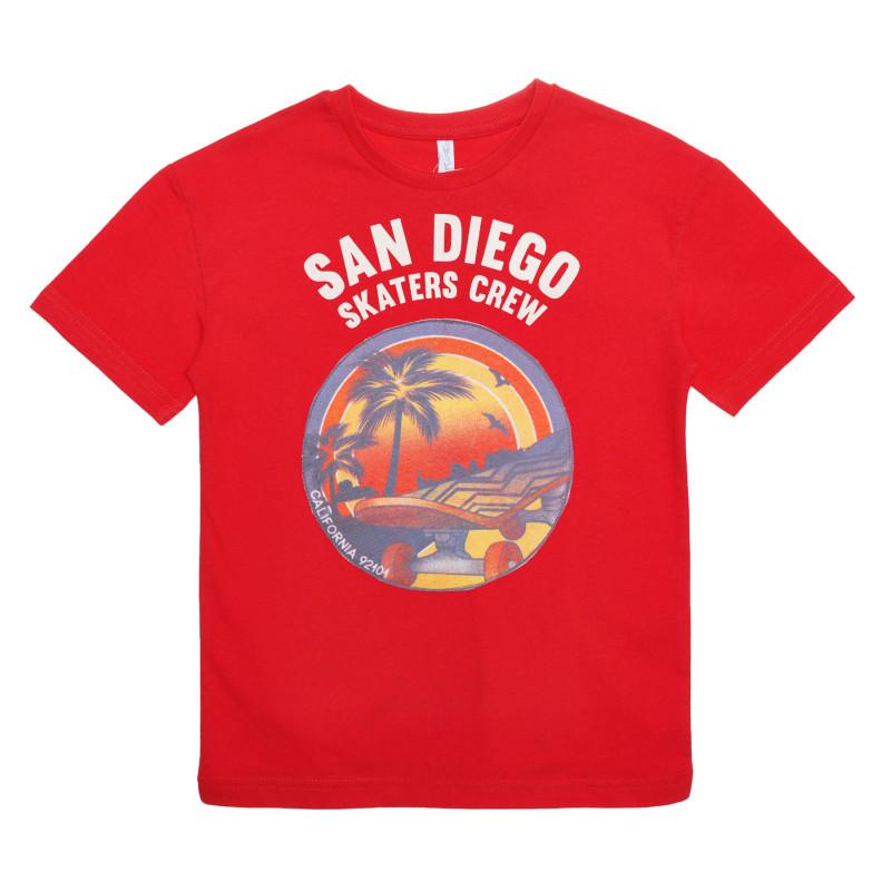 Tricou din bumbac cu imprimeu, culoare roșie  239548