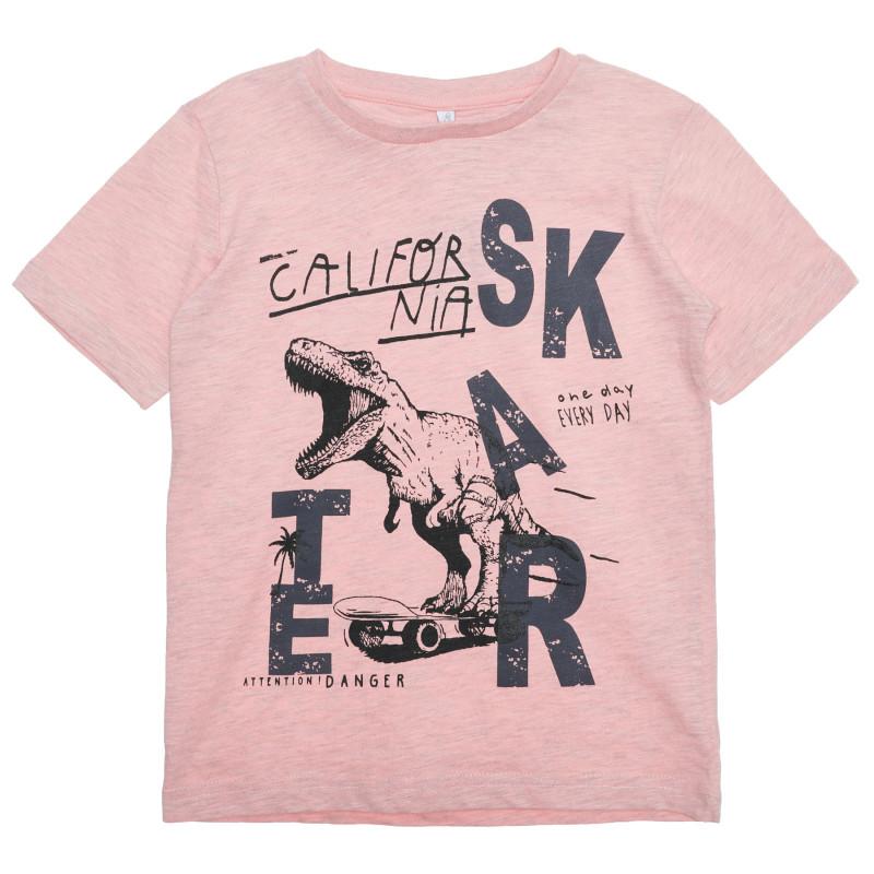 Tricou din bumbac cu imprimeu dinozaur, roz  239552
