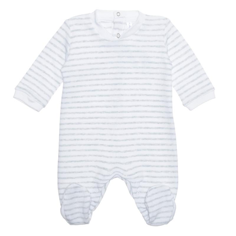 Salopetă de bumbac pentru un bebeluși în dungi gri și c albe  239564