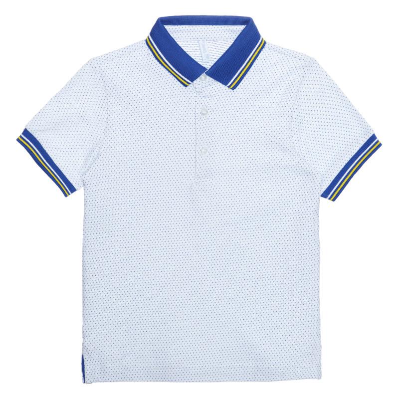 Tricou din bumbac cu detalii albastre, pe alb  239568