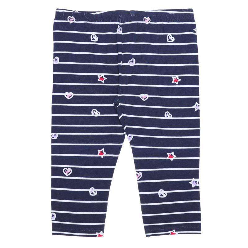 Colanți din bumbac cu imprimeu de steluțe și inimi pentru bebeluși în dungi albastre și albe  239572