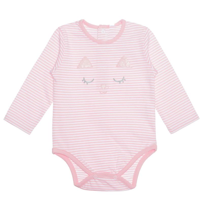 Body pentru bebeluși din bumbac în dungi albe și roz  239576