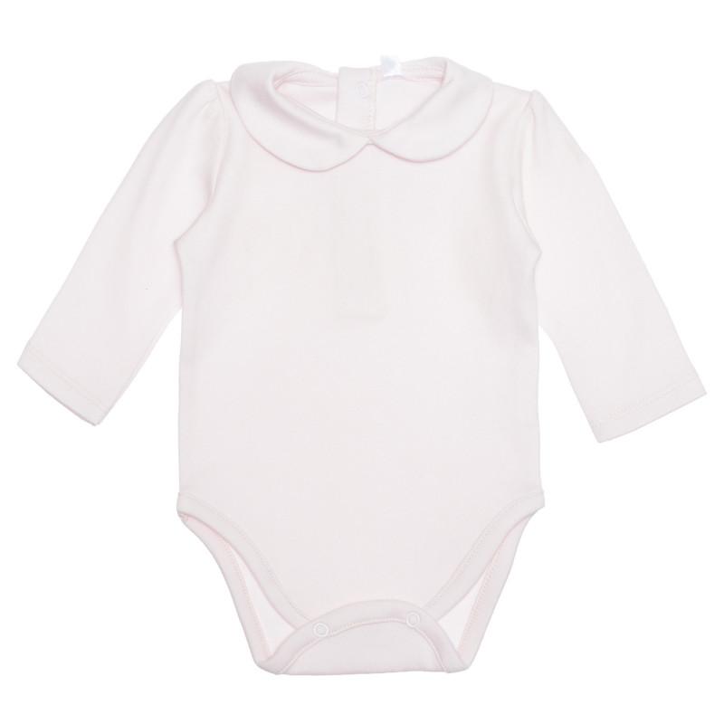 Body din bumbac cu guler spectaculos pentru bebeluș, roz  239580