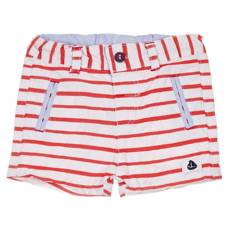 Pantaloni scurți din bumbac pentru bebeluș, în dungi alb-roșii  239588