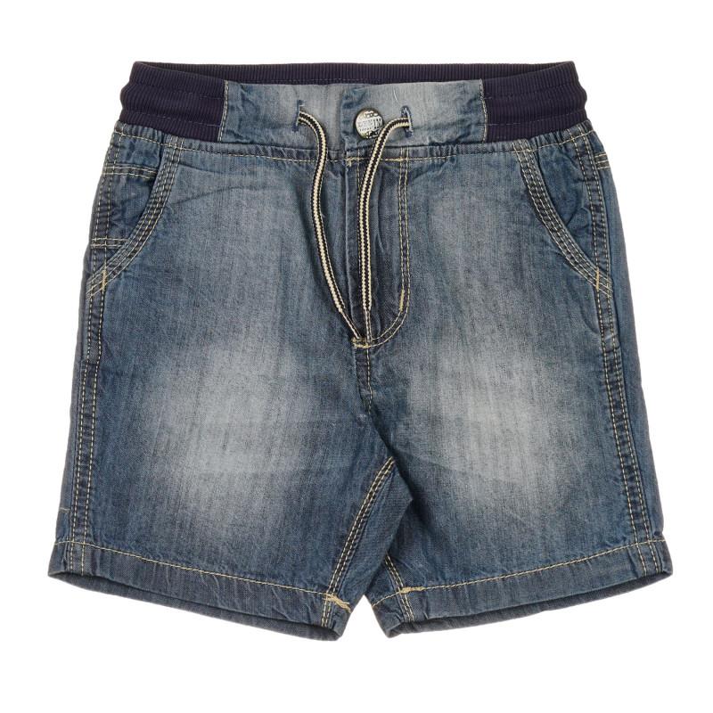 Pantaloni din bumbac din denim cu efect uzat, albastru  239596