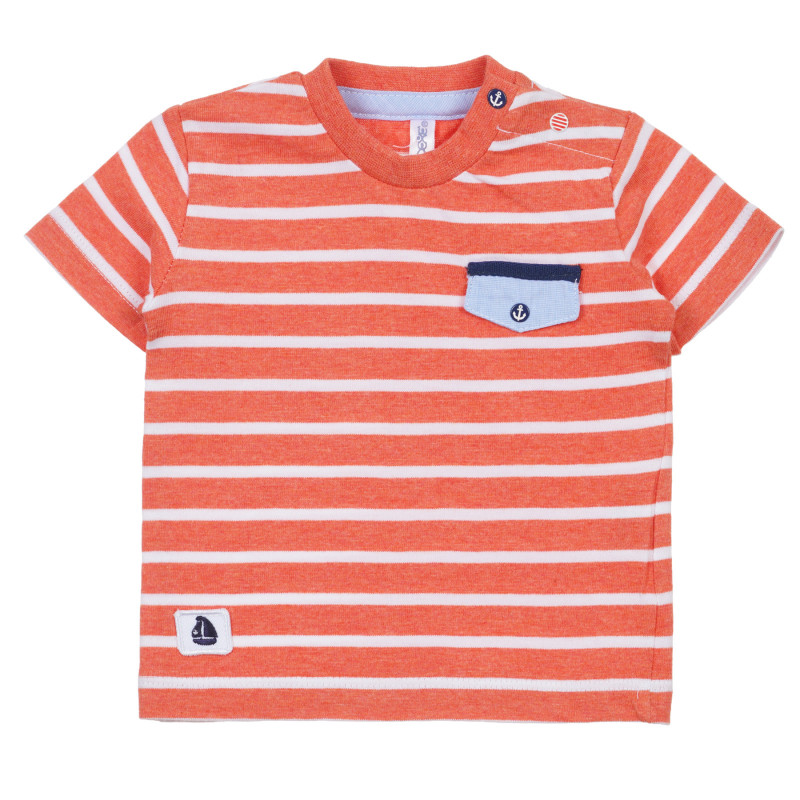 Tricou din bumbac pentru bebeluș, dungi roșii și albe  239600