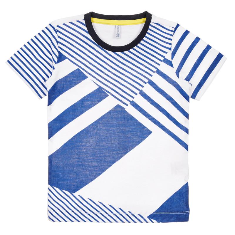 Tricou din bumbac cu imprimeu grafic, pe alb  239604