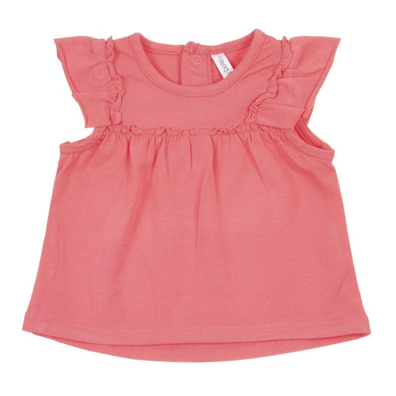 Tricou din bumbac cu volane pentru bebeluș, roz  239608
