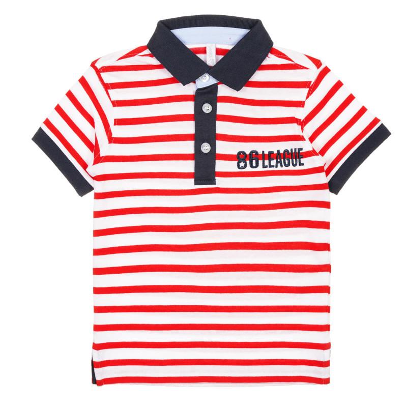Tricou cu dungi și guler, din bumbac  239612
