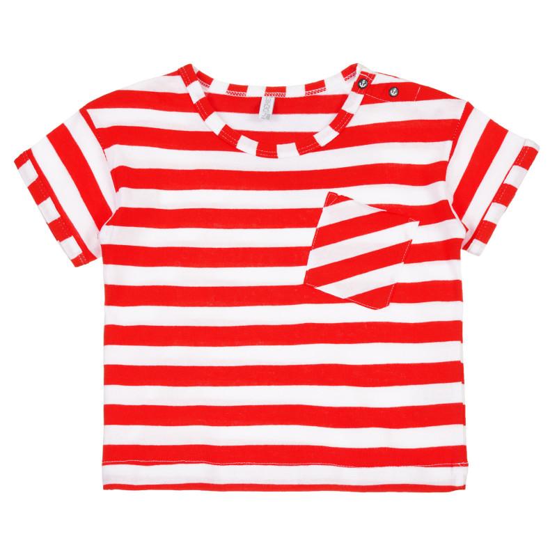 Tricou din bumbac cu buzunar pentru bebeluș, dungi alb-roșii  239620