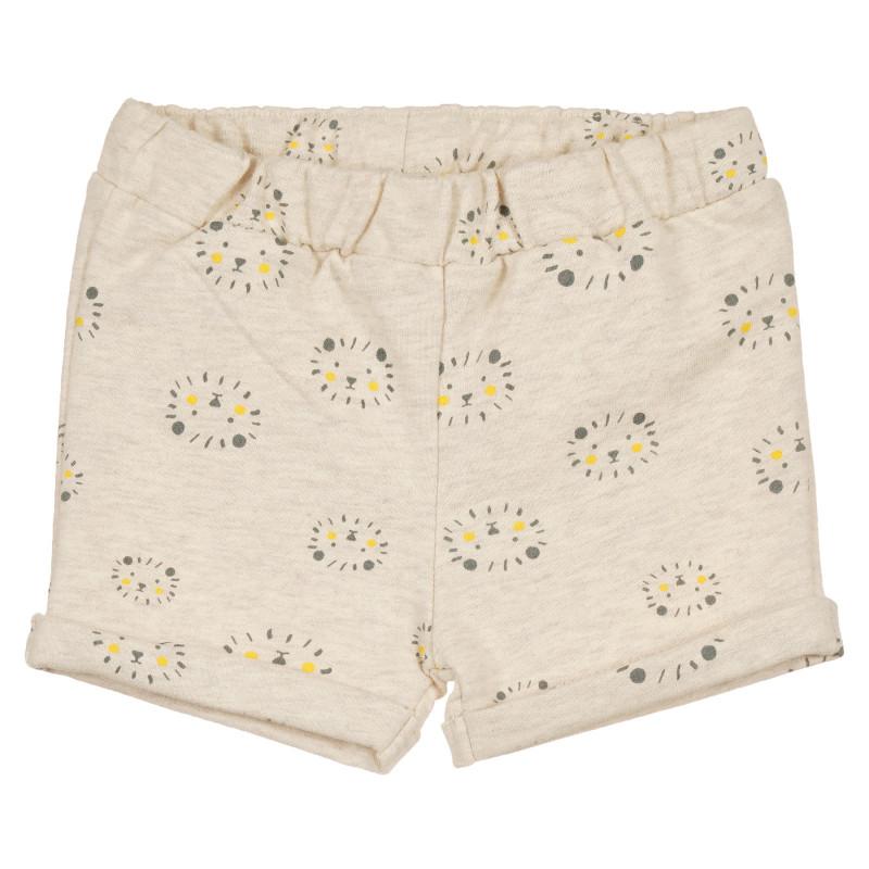 Pantaloni scurți din bumbac, imprimeu cu leu, pentru bebeluși, bej  239634