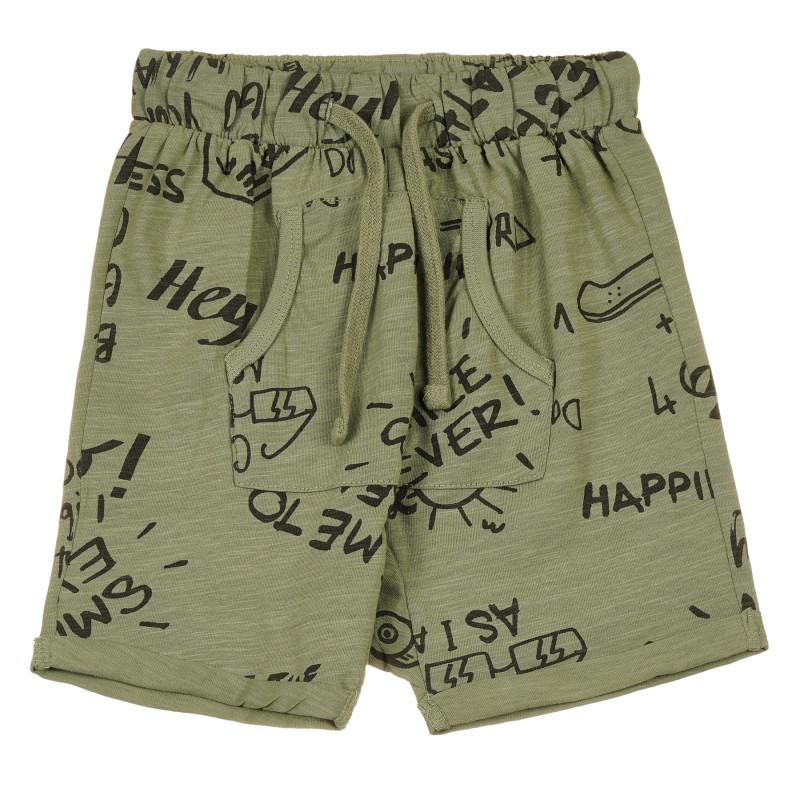 Pantaloni scurți din bumbac cu imprimeu grafic, verde închis  239650