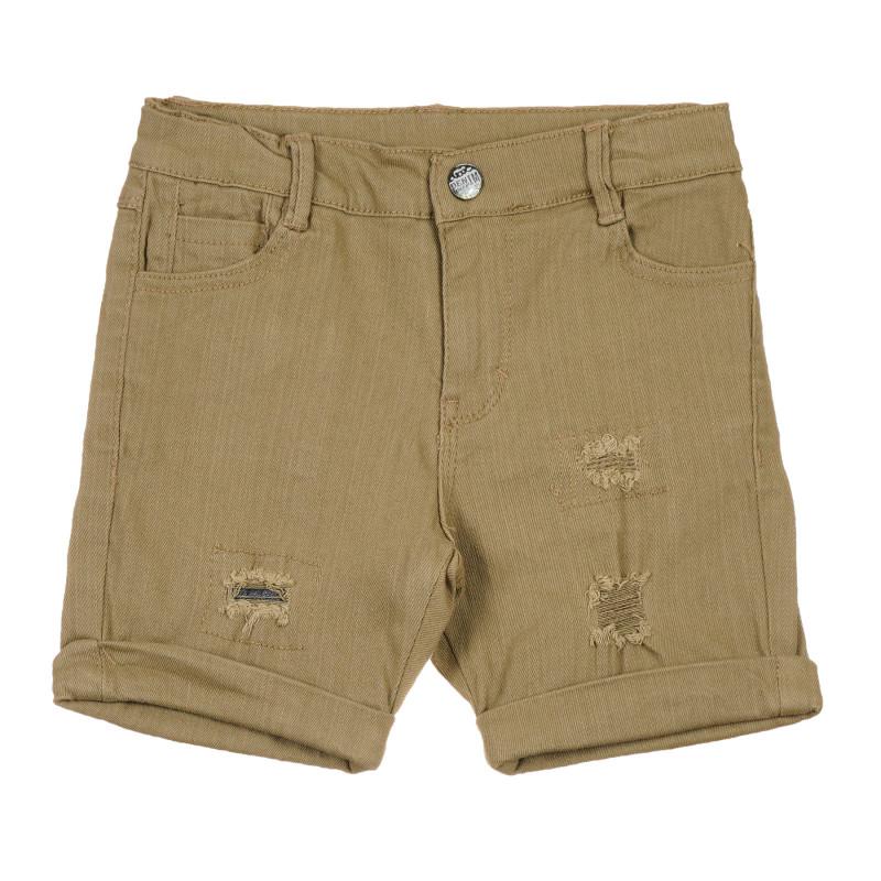 Pantaloni scurți din bumbac cu detalii rupte, verzi  239654