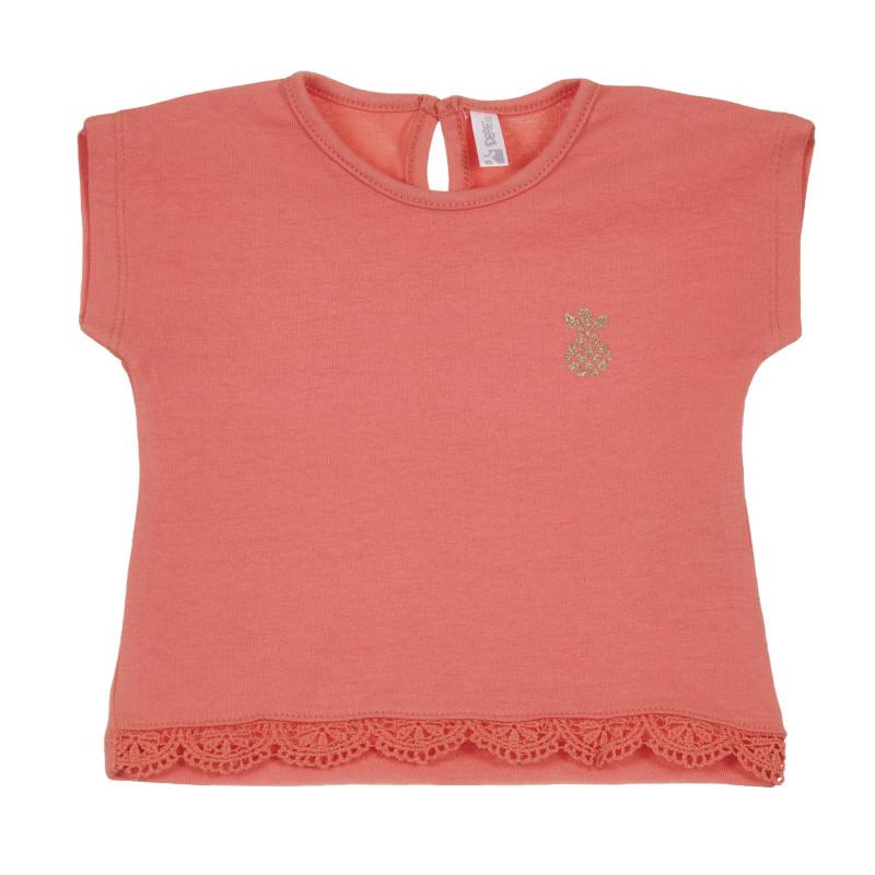 Tricou din bumbac cu dantelă pentru bebeluș, roz  239670