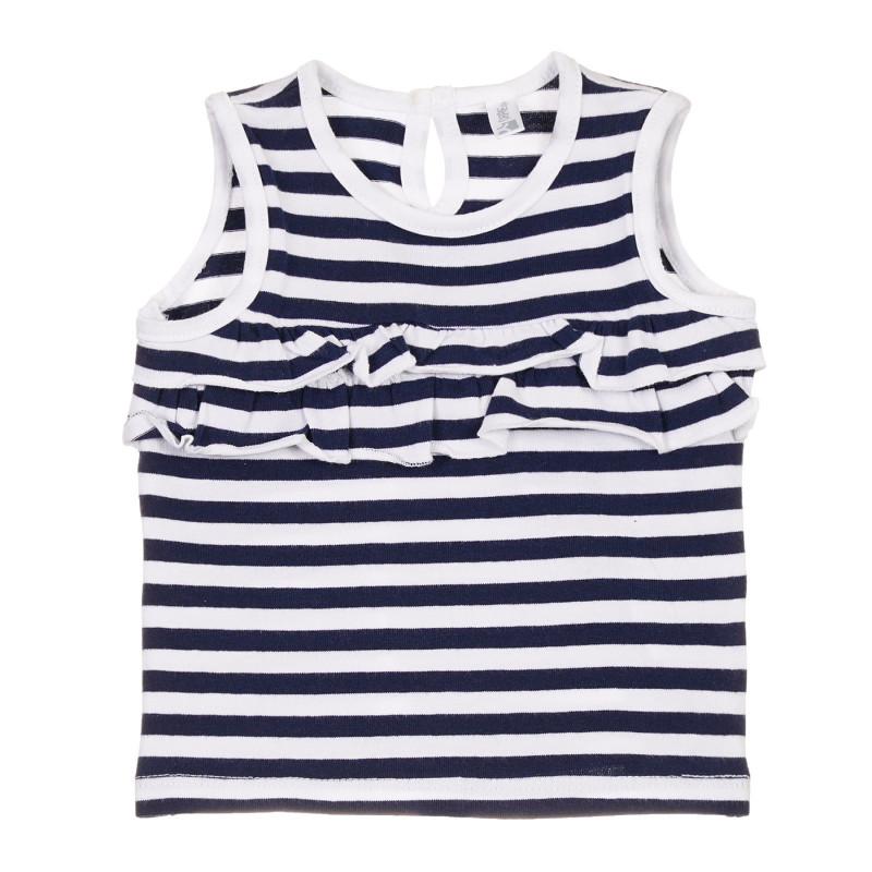 Bluză din bumbac cu volane pentru bebeluș, în dungi alb-albastre  239674