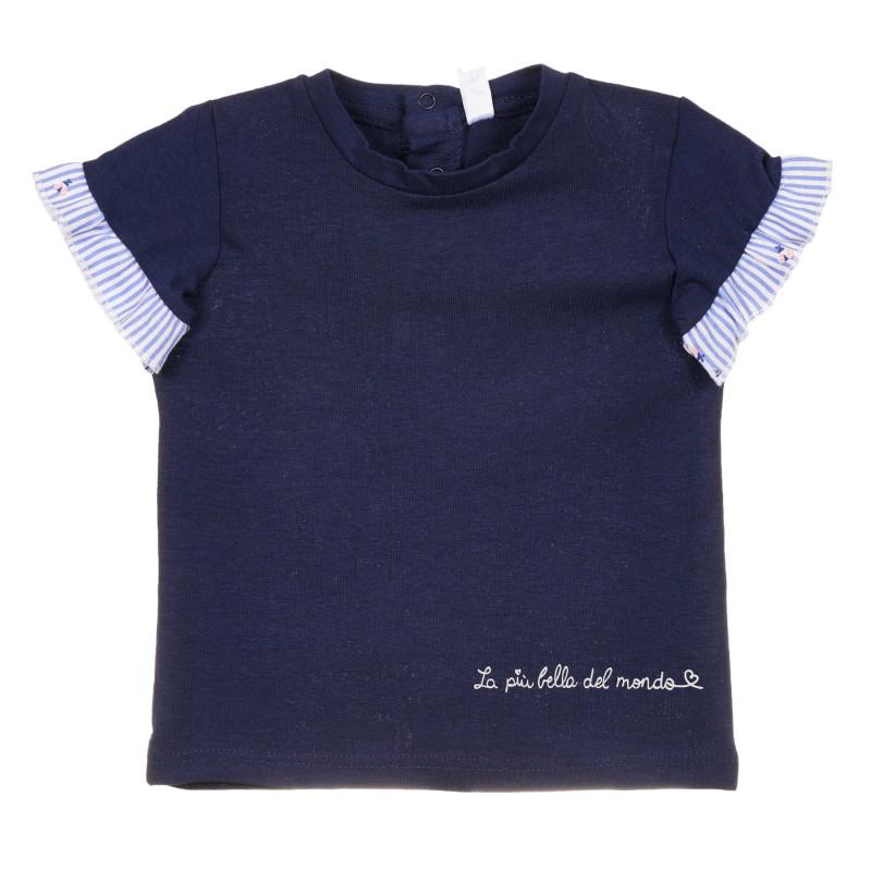 Tricou din bumbac cu volane pentru bebeluș, albastru închis  239678