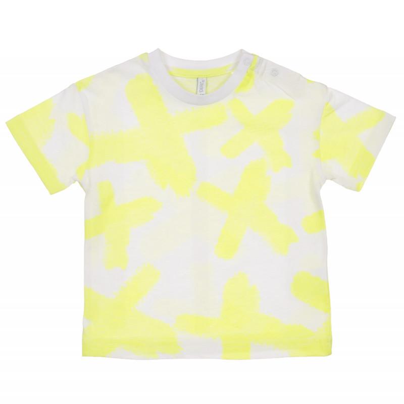 Tricou din bumbac cu imprimeu grafic pentru bebeluș, alb  239682