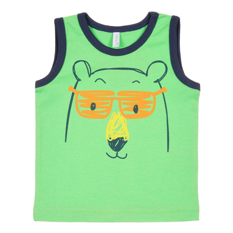 Maiou din bumbac cu imprimeu urs pentru bebeluș, verde  239690