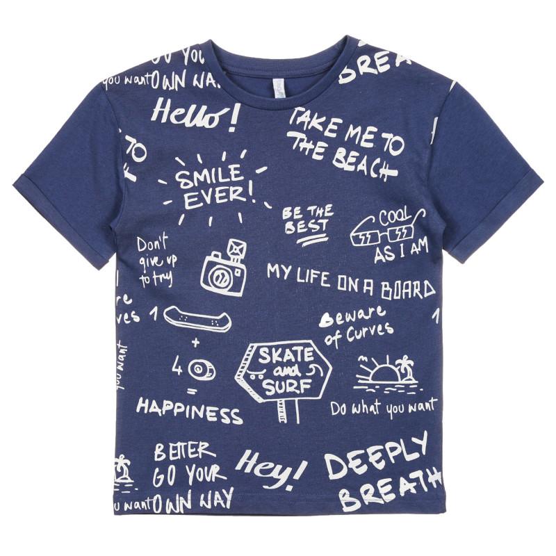 Tricou din bumbac cu imprimeu grafic, culoare albastră închis  239698