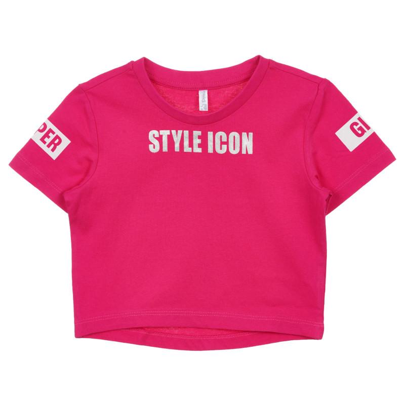 Tricou din bumbac cu inscripția Style Icon, roz  239710