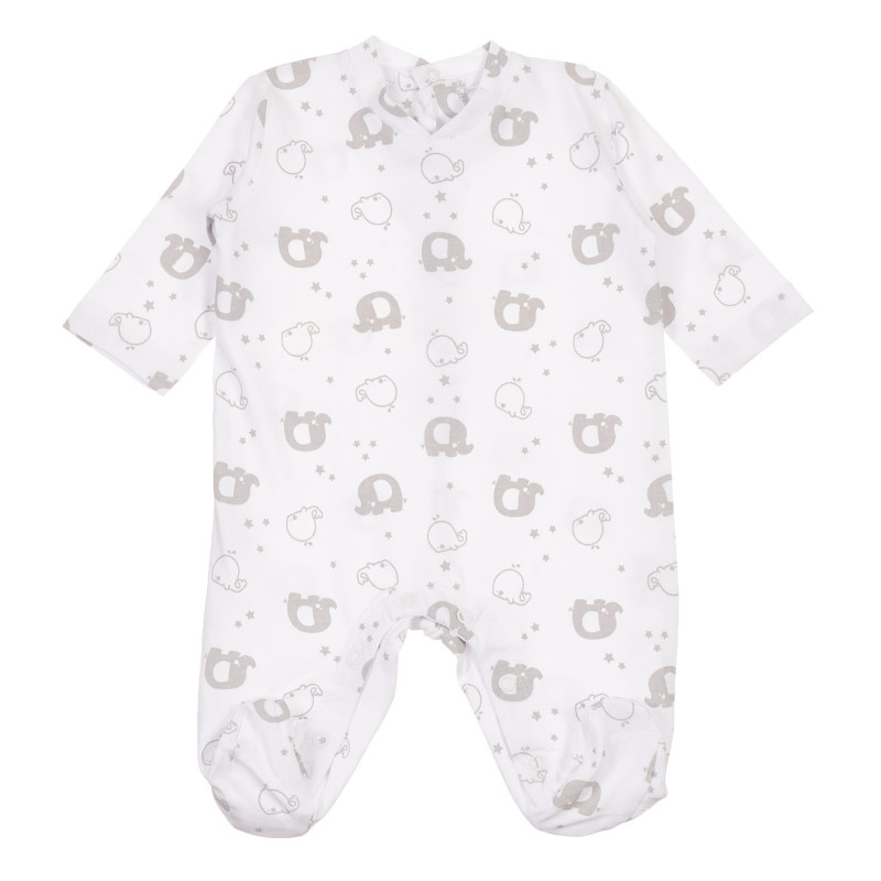 Salopetă din bumbac cu animale pentru bebeluș, albă  239714