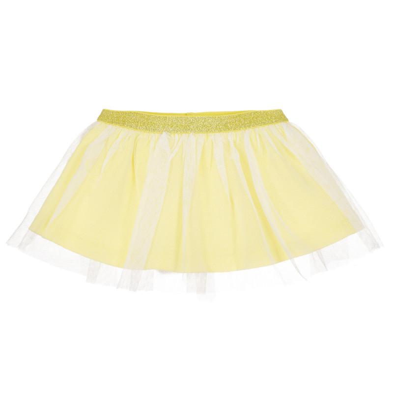 Fustă de bumbac cu tul pentru bebeluș, galbenă  239730