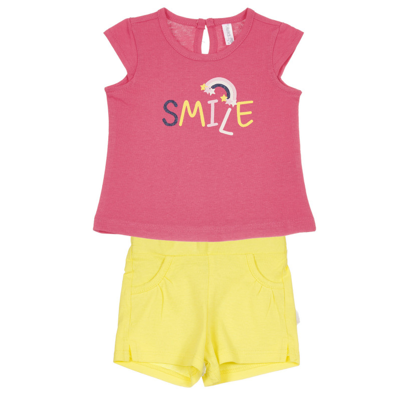 Set de bumbac Smile pentru bebeluș, roz și galben  239734