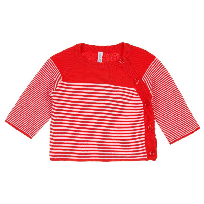 Cardigan din bumbac pentru bebeluș cu dungi albe și roșii  239748