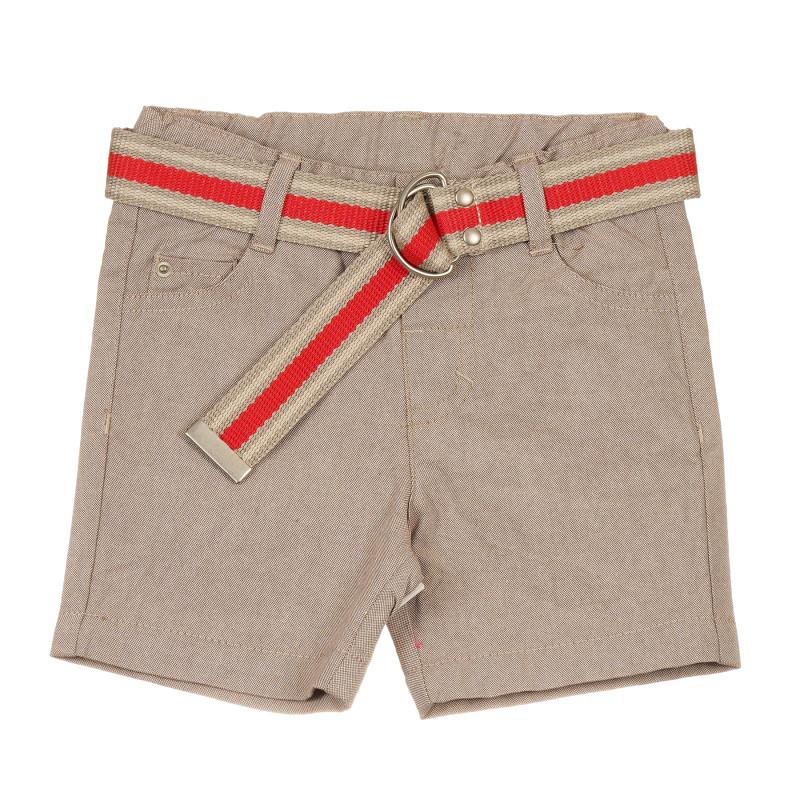 Pantaloni scurți din bumbac cu centură portocalie pentru bebeluși, bej  239756