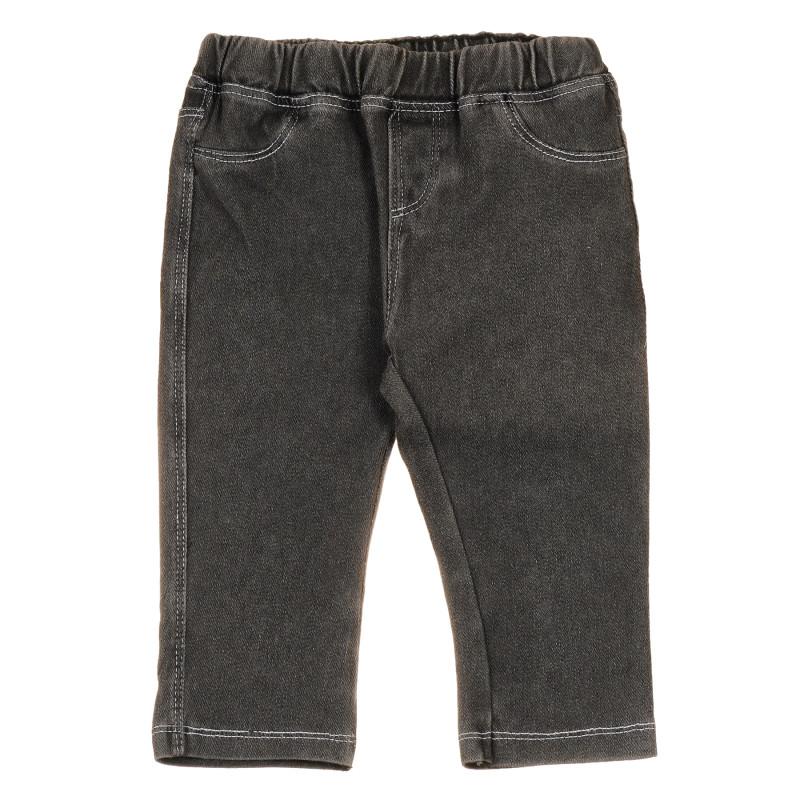 Jeans elastici din bumbac pentru bebeluși, gri  239764