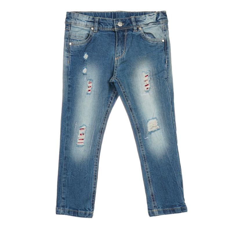 Jeans din bumbac cu efect uzat, albastru  239776