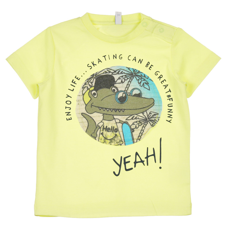 Tricou cu imprimeu crocodil pentru bebeluș, galben  239784