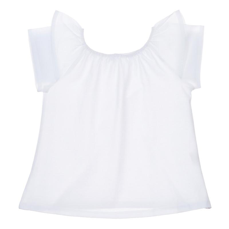 Tricou din bumbac cu volane, alb  239792