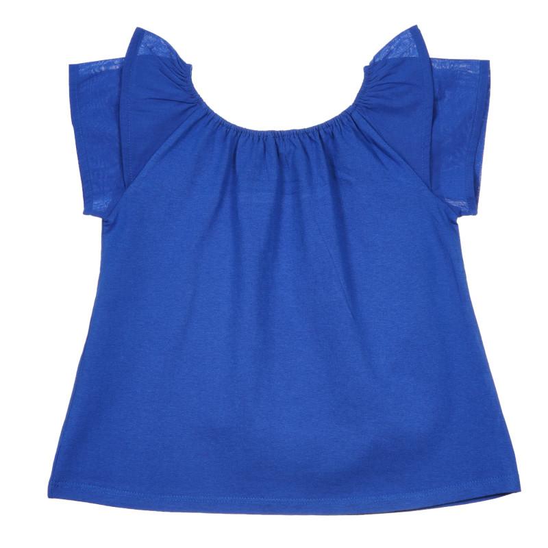 Tricou din bumbac cu volane, albastru  239796