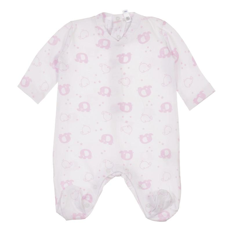 Salopetă din bumbac cu animale, pentru bebeluș, roz  239800