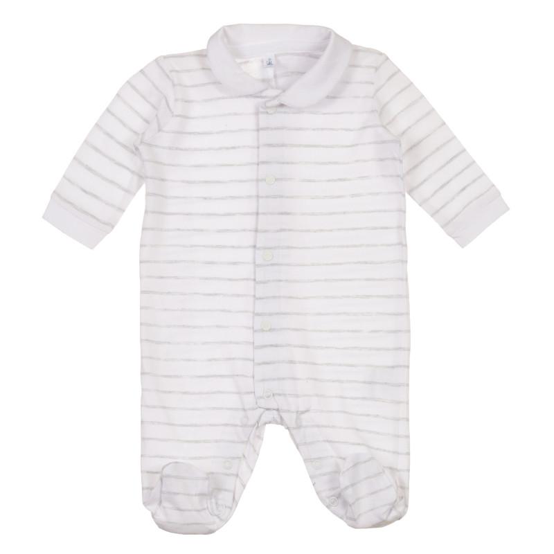 Salopetă cu dungi din bumbac pentru bebeluș  239804