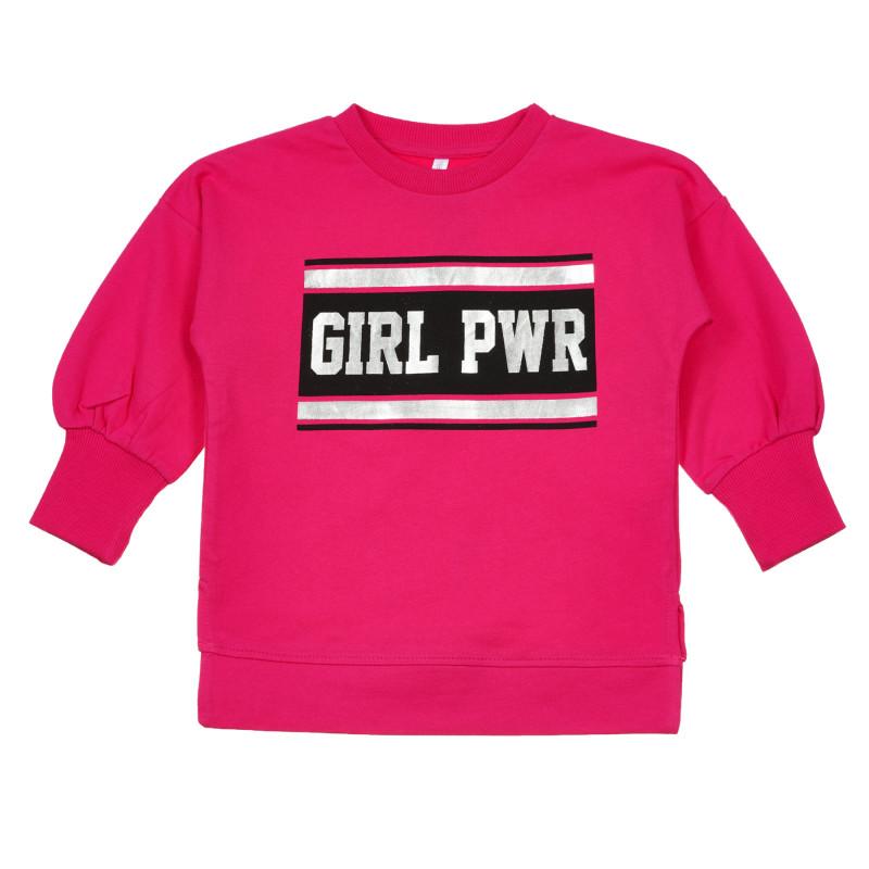 Bluză din bumbac Girl PWR, roz  239852