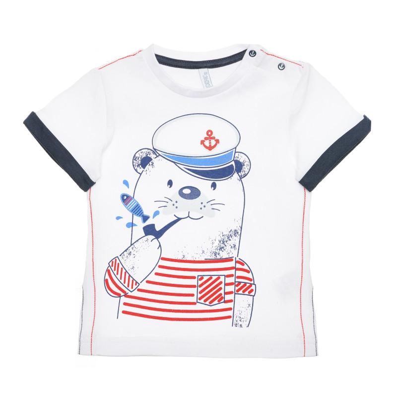 Tricou din bumbac cu motive marine pentru bebeluș, alb  239878