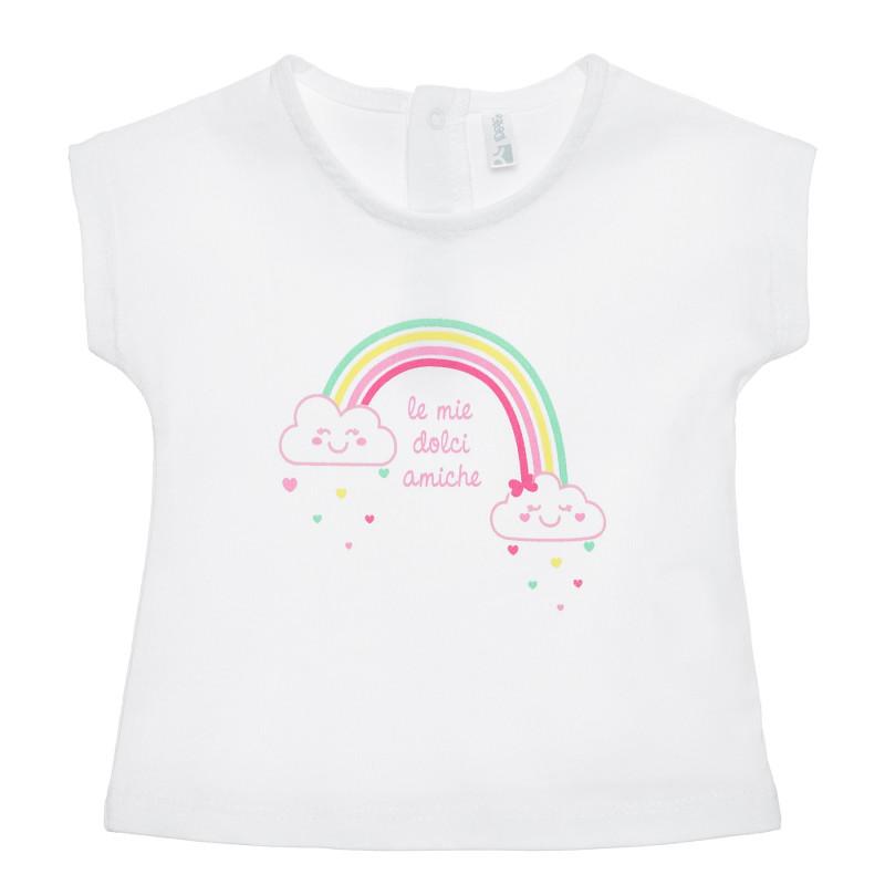 Tricou din bumbac curcubeu pentru bebeluș, alb  239886
