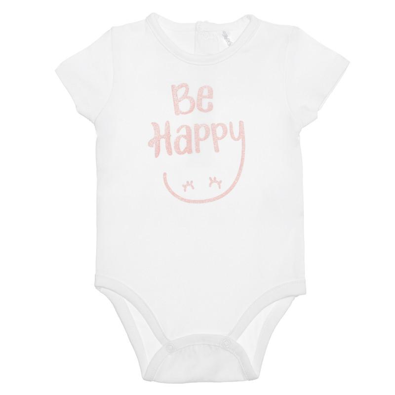 Body din bumbac, Be Happy, pentru bebeluș, alb  239894