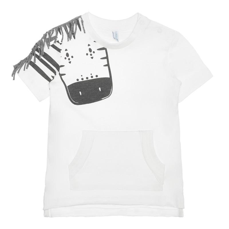 Tricou din bumbac cu girafă pentru bebeluș, alb  240211
