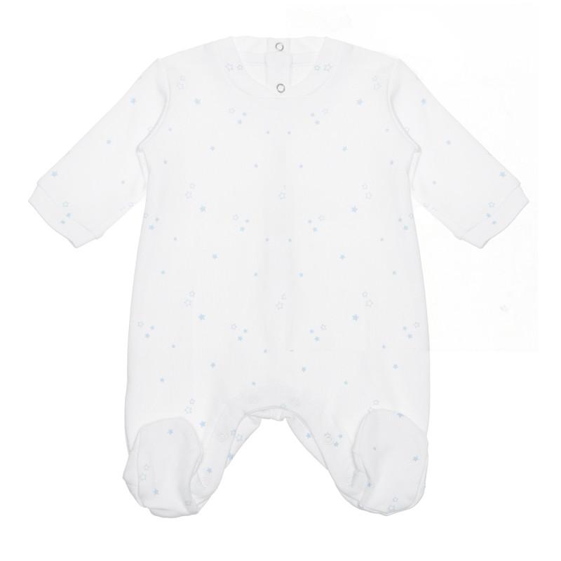 Salopetă din bumbac cu stele pentru bebeluș, alb și albastru  240215