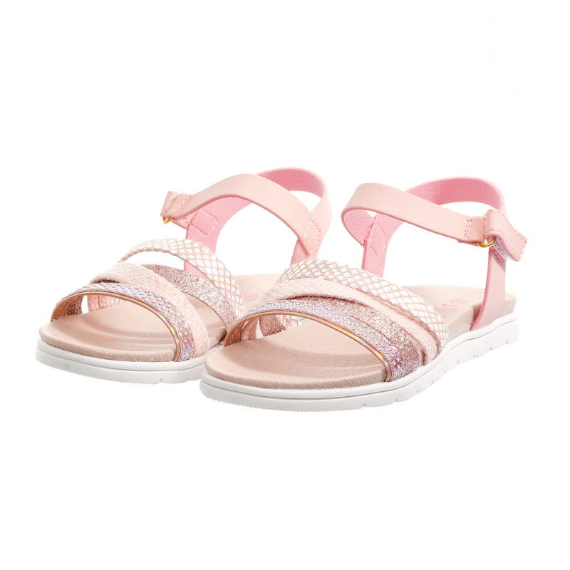 Sandale cu detalii de brocart, roz  240302