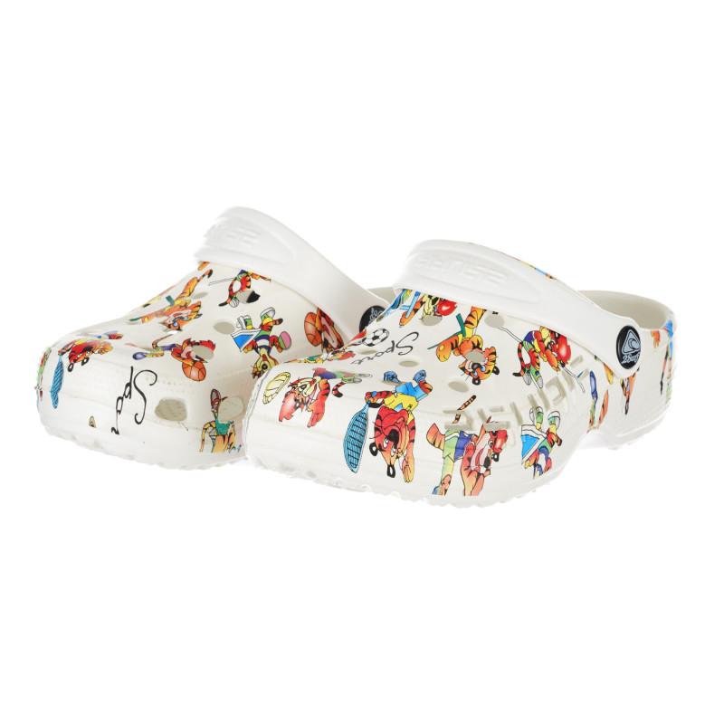 Saboți de cauciuc cu imprimeu colorat, albi  240342