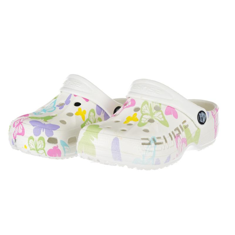 Saboți de cauciuc cu imprimeu fluture, în alb  240346
