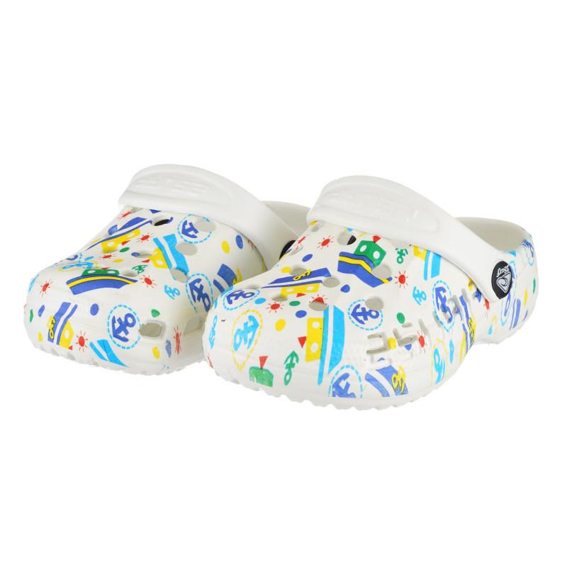 Saboți de cauciuc cu imprimeu de navă, albi  240370