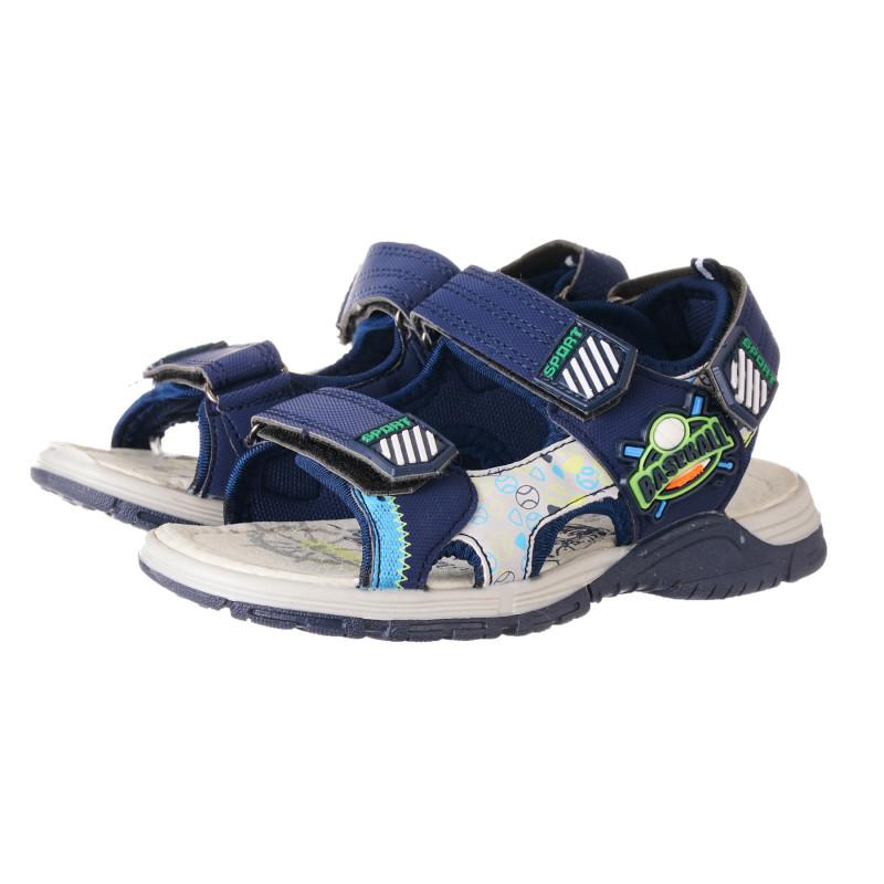 Sandale cu aplicație de baseball, în albastru  240441