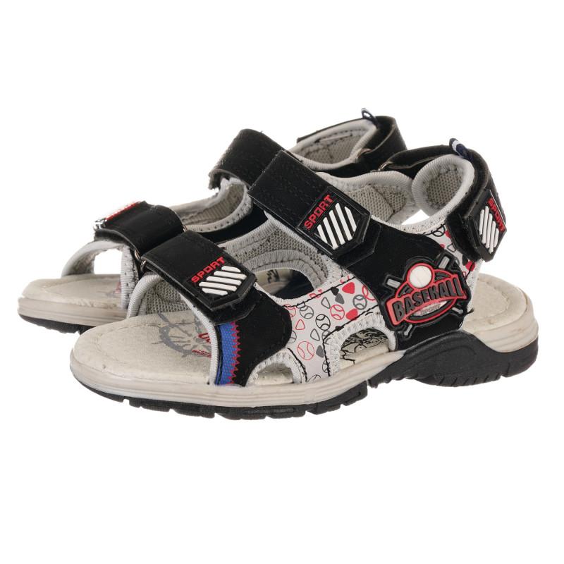Sandale cu aplicație de baseball negre  240447