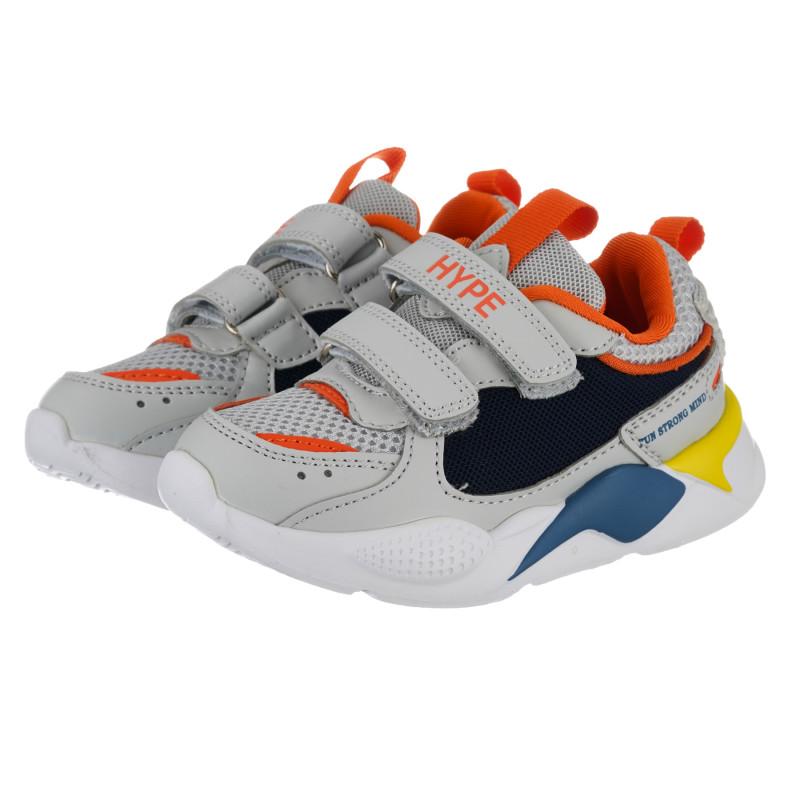 Teniși cu detalii portocalii pentru bebeluș, gri  240474