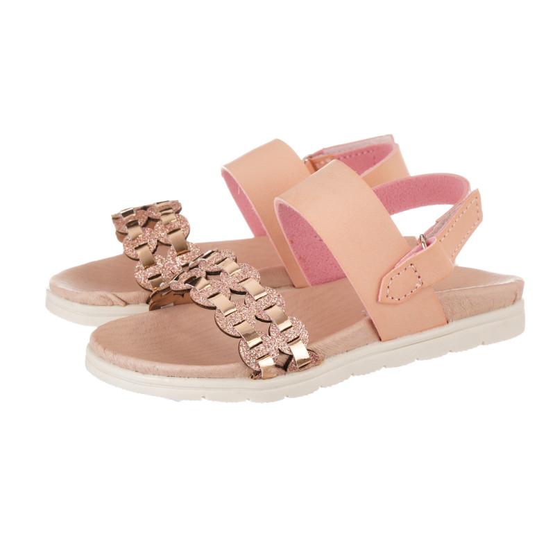 Sandale cu curea tricotată elegantă pentru fată, roz deschis  240495